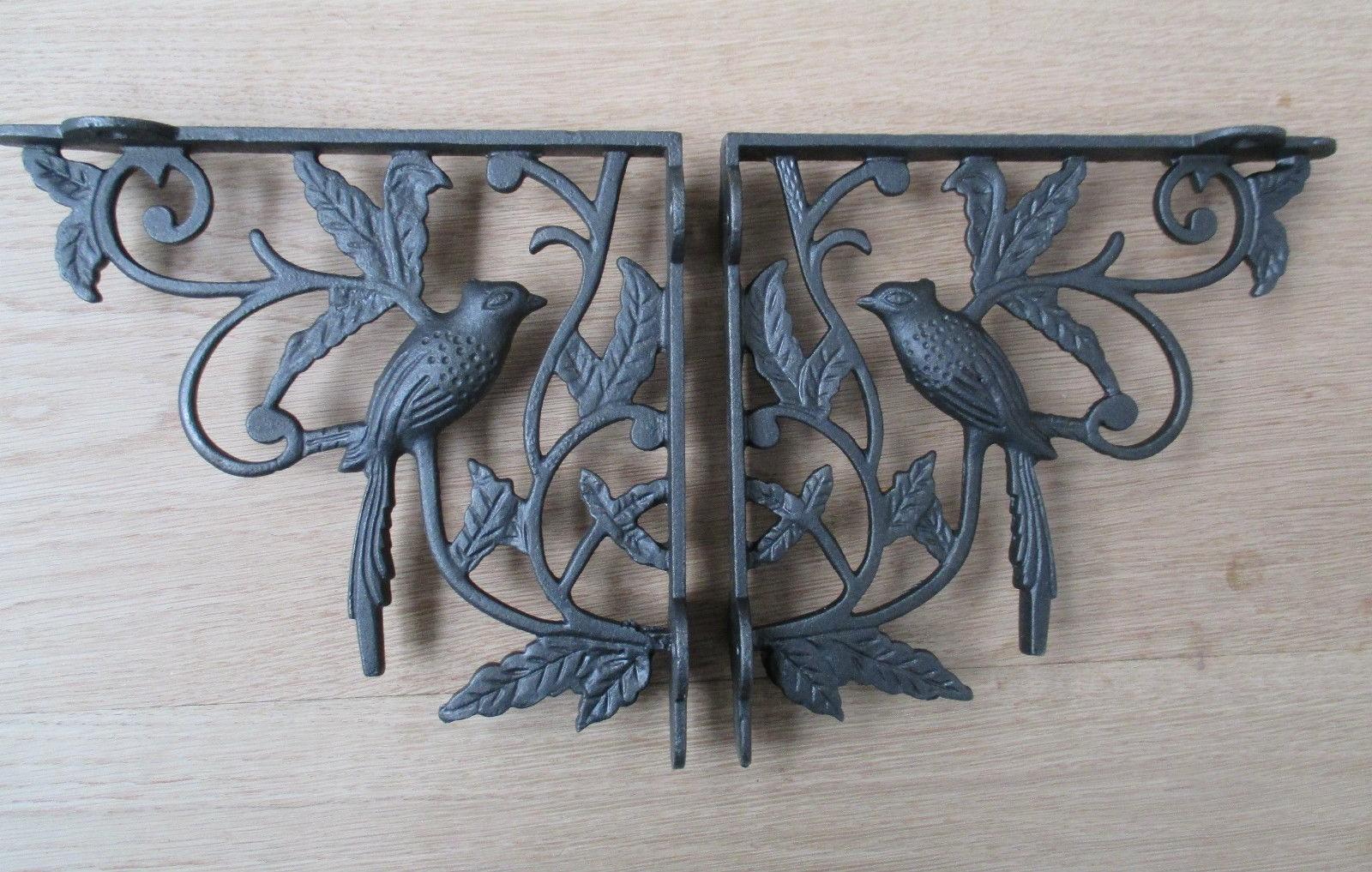 Pair Of 1 BIRD WOODLAND ANTIQUE STYLE CAST IRON WALL SHELF