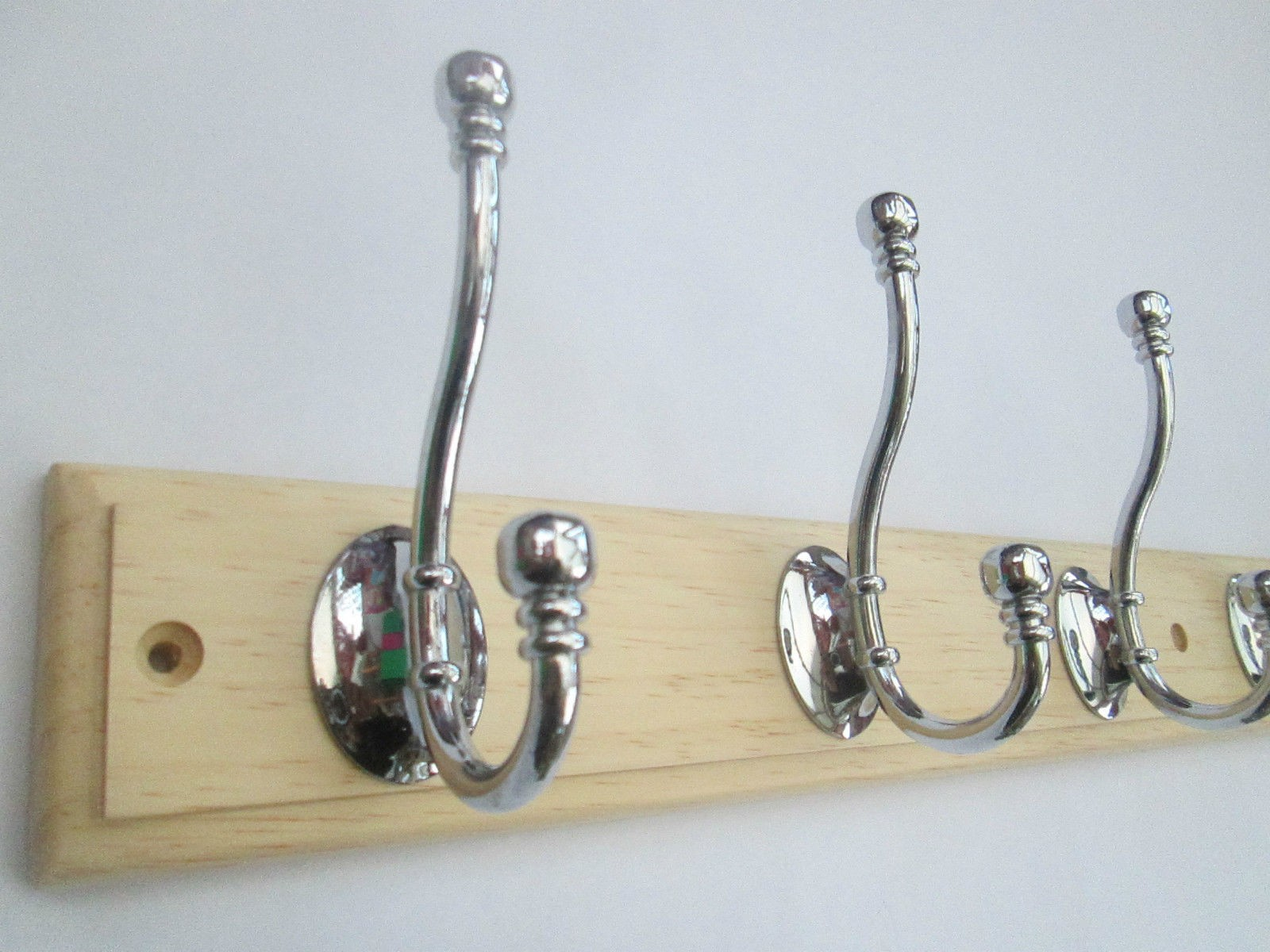 Modern Wood Coat Rack With Chrome Hooks Ironmongery World