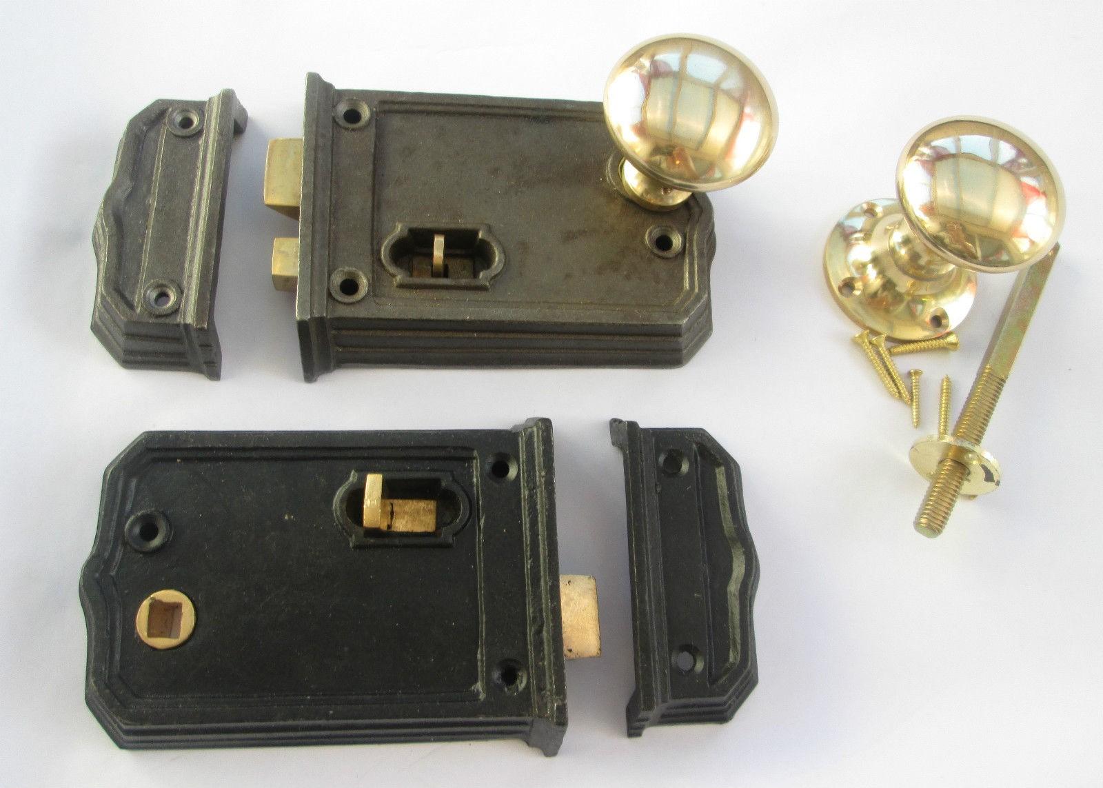 Cast Iron Vintage Old Style Bathroom Bedroom Rim Door Lock