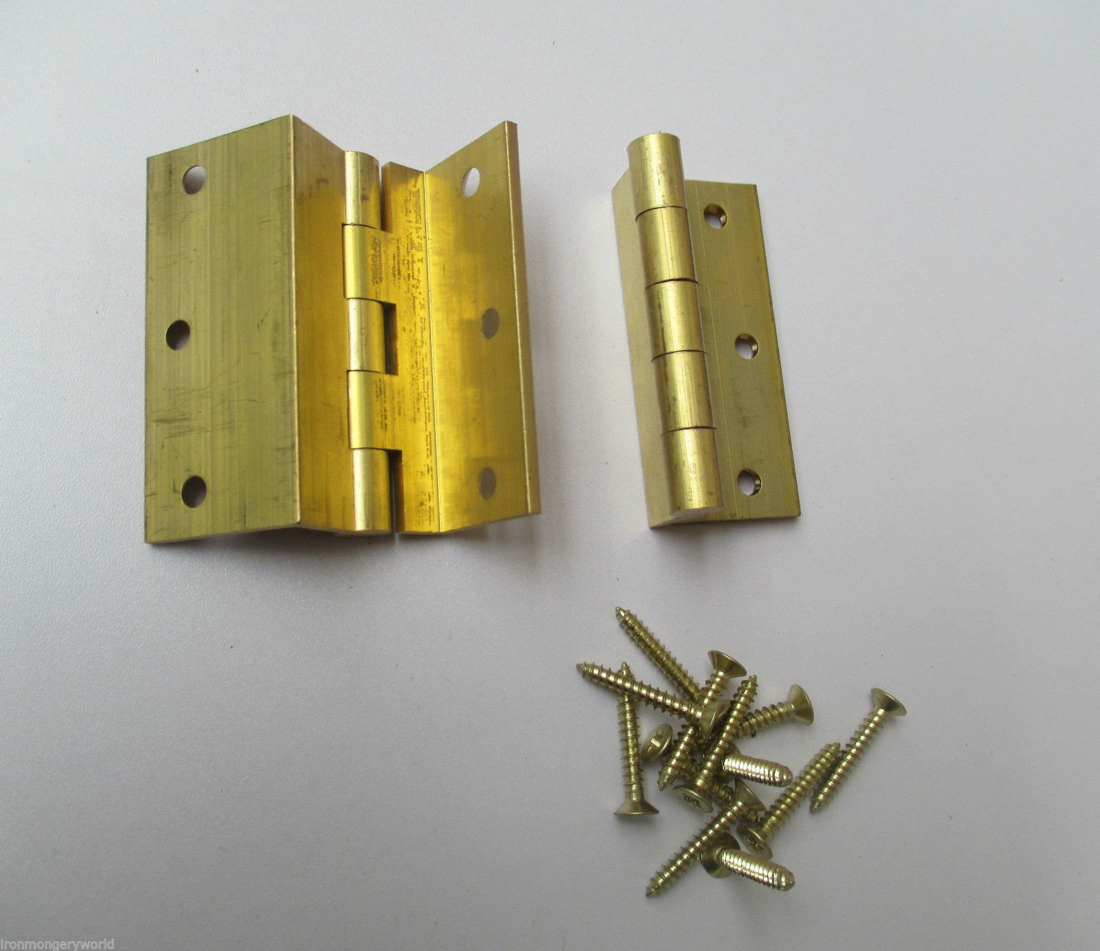 2 X Solid Brass Storm Proof Top Hung Window Hinge Cranked