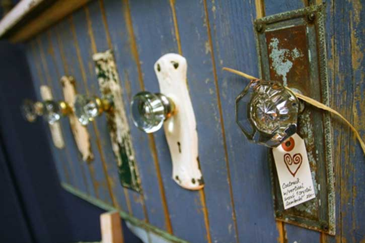 coat rack made from vintage door knobs