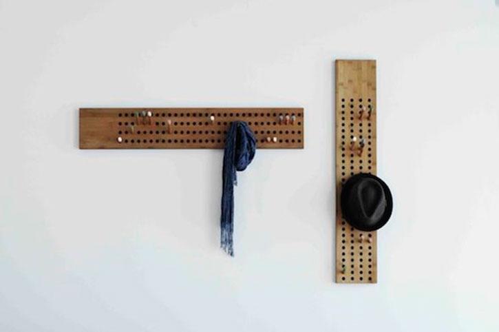 a grid style scoreboard coat rack