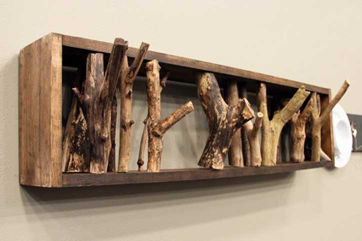 DIY coat rack made from tree branches
