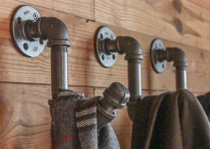 industrial vintage pipe coat hooks