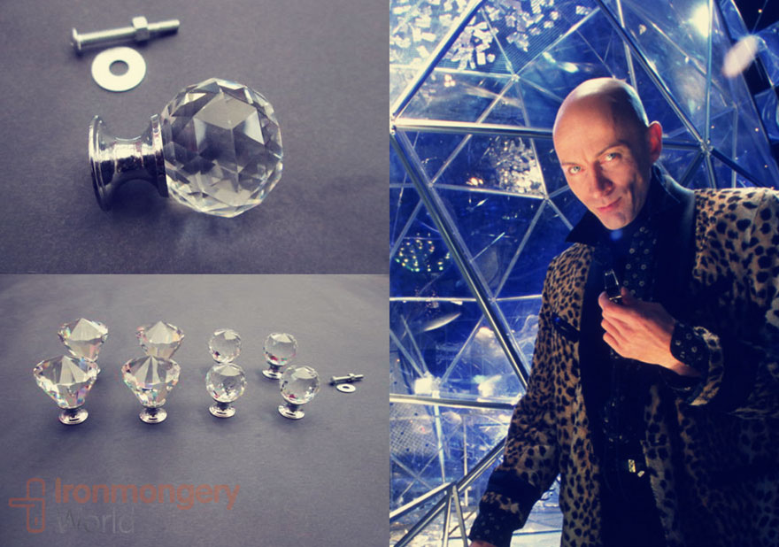 Vintage Clear Cut Glass Crystal Pull Knobs that look like Crystal Maze's time crystals