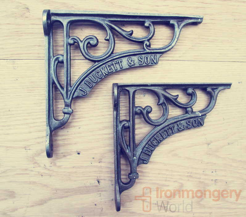 Victorian style shelf brackets are made from solid cast iron with a natural wax finish