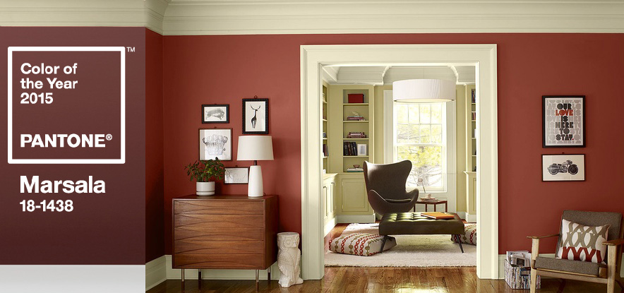 pantone's marsala colour of the year painted in a living room