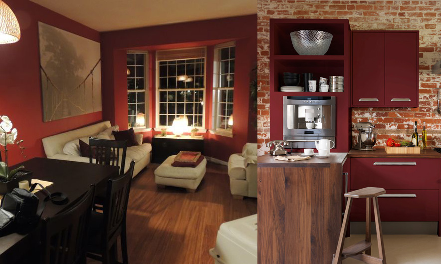 The colour marsala used in a living room and kitchen