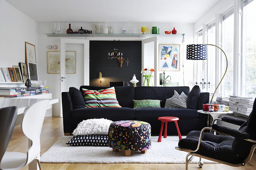 The Scandinavian style room interiors
